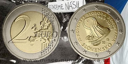 2 € - 20. výročí 17. listopadu - dne boje za svobodu a demokracii