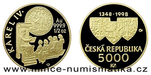5000 Kč - Založení University Karlovy v r. 1348