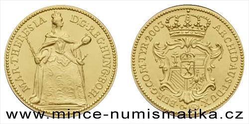2003 - Replika zlatého dukátu Marie Terezie 1743