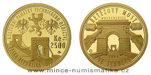 2500 Kč -  Národní kulturní památka řetězový most ve Stádlci