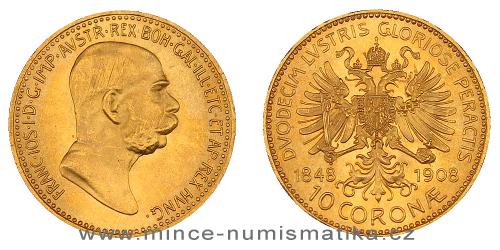 10 koruna FJI RU 1848 - 1908 jubilejní (k 60. výročí vlády)