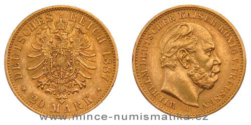 Zlatá 20 marka 1887 A Prusko Wilhelm I.