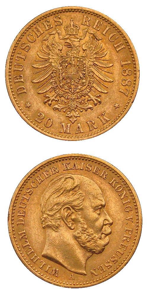 1887_20_marek_Prusko_Wilhelm_I._Au_mince