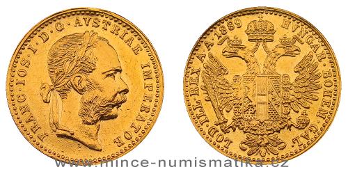 1 dukát FJI RU 1889 (měl ouško)