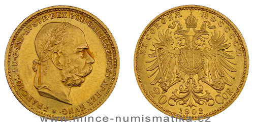 20 koruna FJI RU 1902 b.z. (rakouská)