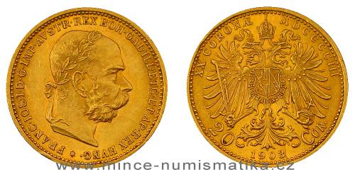 20 koruna FJI RU 1903 b.z. (rakouská) - lepší ročník