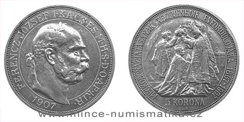 5 koruna FJI RU 1907 K.B. korunovační