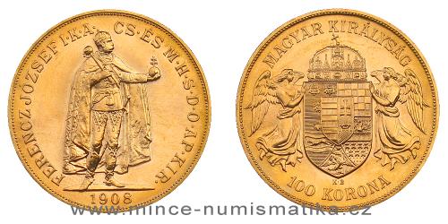 100 koruna 1908 K.B. - uherská (novoražba)