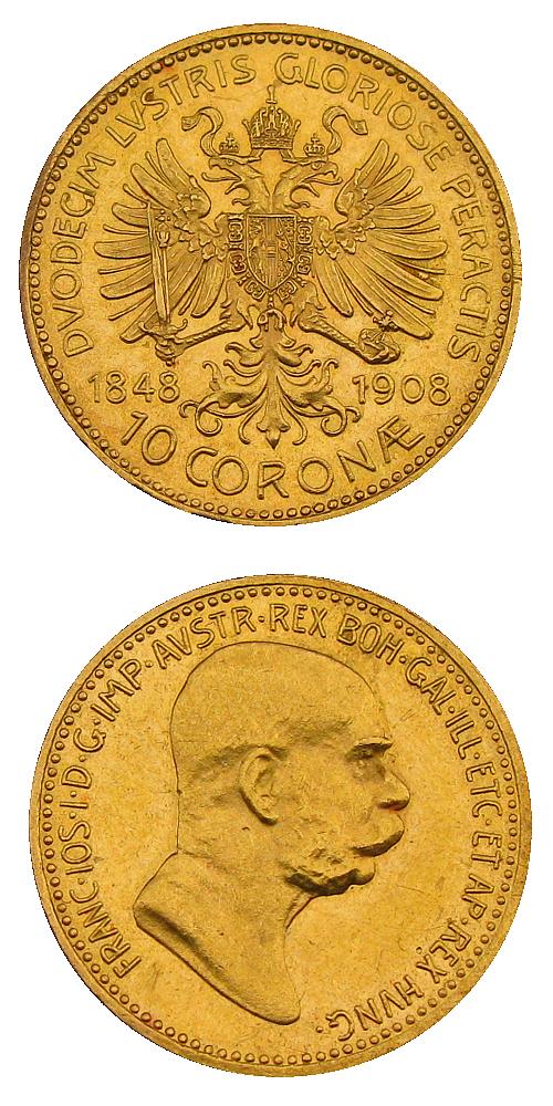 1908_10_koruna_FJI_RU_jubilejni_Au_mince