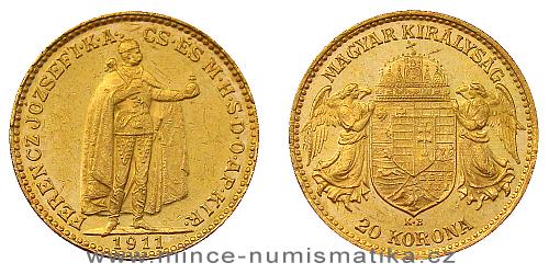 Zlatá 20 koruna FJI RU 1911 K.B. (nejmenší náklad z K.B.)