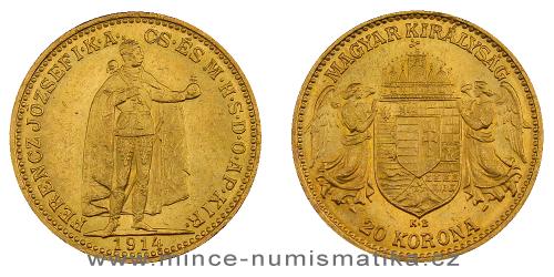 Zlatá 20 koruna FJI RU 1914 K.B. - lepší ročník