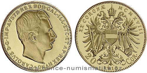 2020 - Zlatá replika 20 koruny Karla I. 1918