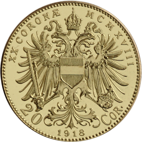 1918_Au_medaile_replika_20_koruny_unc_medaile_revers