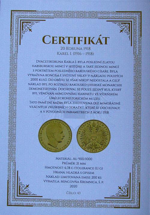 1918_Au_medaile_replika_20_koruny_unc_medaile_xxx