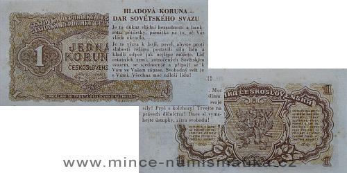 1 Kčs 1953 - HLADOVÁ KORUNA (antikomustický letáček)
