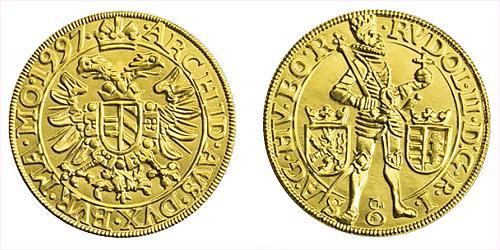 1997 - zlatá replika Erckerova pražského dukátu Rudolfa II.