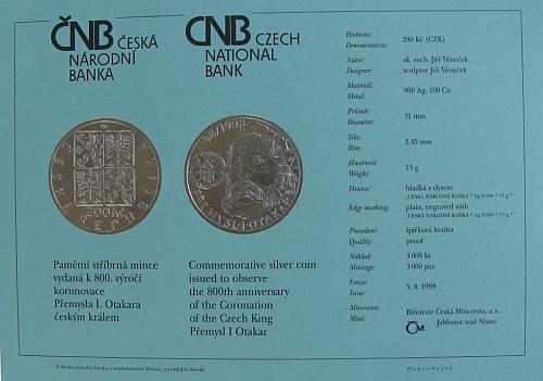 1998_200_Kc_Premysl_Otakar_I._certifikat