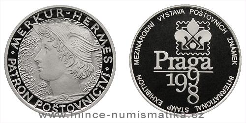 1998 - Stříbrná medaile Praga 98 / Merkur - Hermes - patron poštovnictví