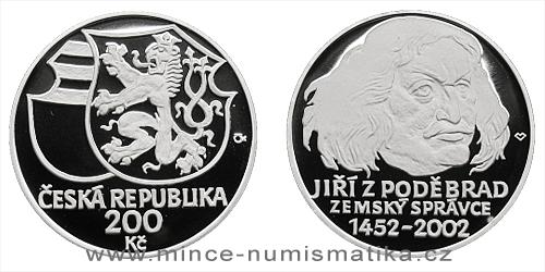 200 Kč - 550. výročí ustanovení Jiřího z Poděbrad zemským správcem