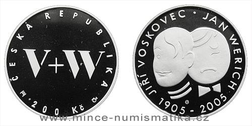200 Kč - 100. výročí narození Jana Wericha a Jiřího Voskovce