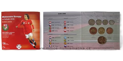 Sada oběžných mincí ČR 2008 ME Fotbal