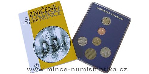 Sada oběžných mincí SR - Zničené slovenské mince 1993 - 2007