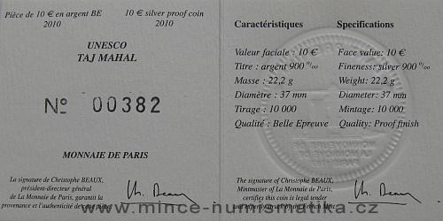 2010-10_euro_Francie_Taj_Mahal_Ag_4_certifikat_r