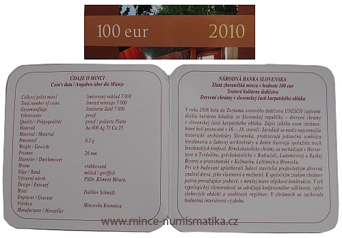 2010_100_euro_Drevene_chramy_unesco_certifikat