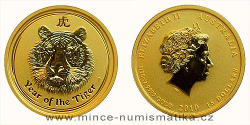 2010 - 15 dollars Austrálie - Year of the Tiger Au 1/10 Oz