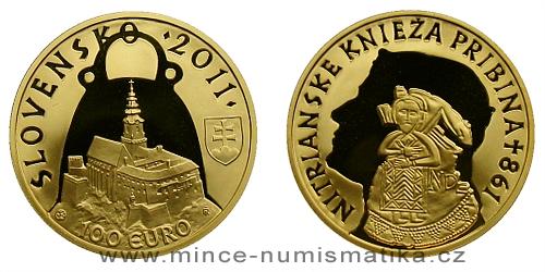 100 € - Nitrainske knieza Pribina - 1150. vyročie úmrtia