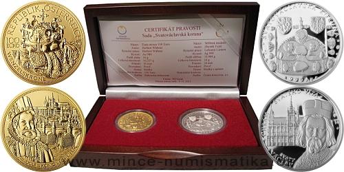 2011 - Sada Svatováclavská koruna - zlatá mince a stříbrná medaile