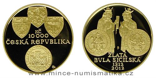 10000 Kč - Zlatá bula sicilská - 800. výročí (2012)