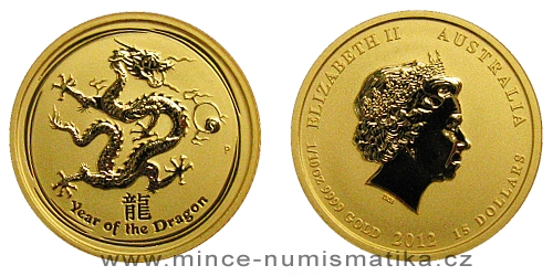 2012 - 15 dollars Austrálie - Year of the Dragon Au 1/10 Oz
