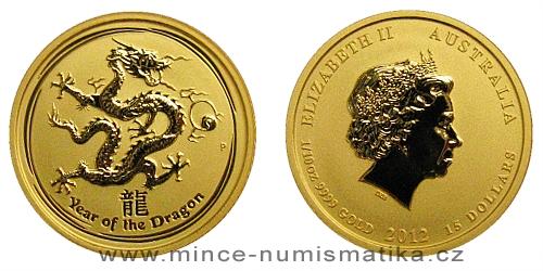 2012 - 15 dollars Austrálie - Year of the Dragon Au 1/10 Oz