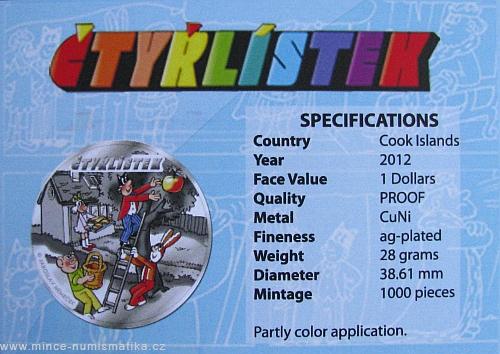 2012_1_dollar_Cook_Islands_Ctyrlistek_certifikat