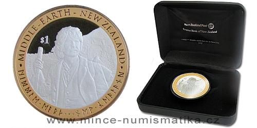 2012 - 1 $ Nový Zéland - The Hobbit ( Hobit ) Ag mince pozlaceno