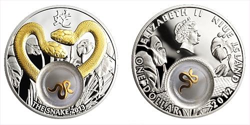 2012 - 1 $ Niue Island - Golden Snakes Ag (pozlaceno)