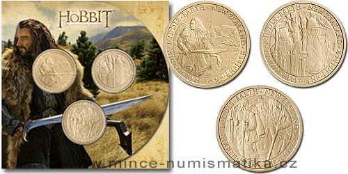2012 - 3x 1 $ Nový Zéland - The Hobbit ( Hobit ) sada v blistru (BU)