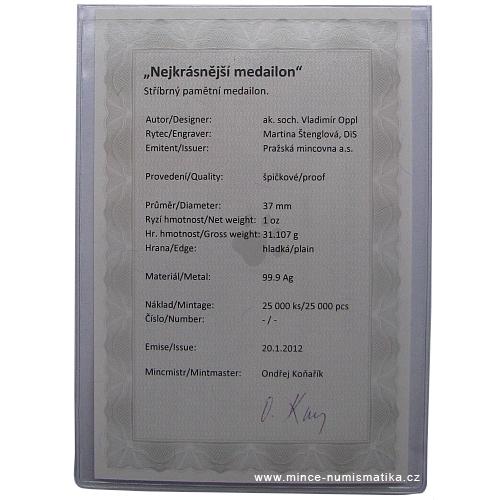 2012_Ag_medaile_Nejkrasnejsi_medailon_3_certifikat