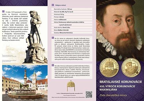 2013_100_euro_Korunovace_Maxmilian_II._letak_1