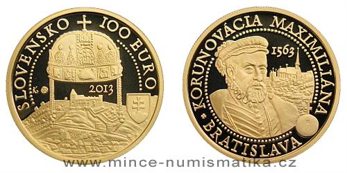 100 € - Bratislavské korunovace - 450. výročí korunovace Maxmiliána II.