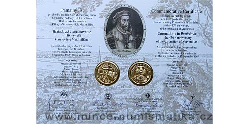 Památný list mince 100 € 450. výročí korunovace Maxmiliána II.
