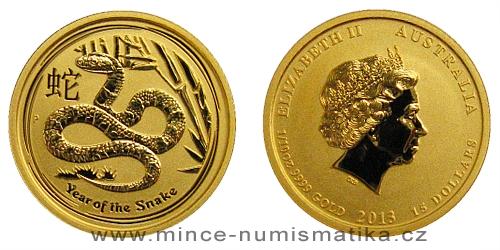 2013 - 15 dollars Austrálie - Year of the Snake Au 1/10 Oz