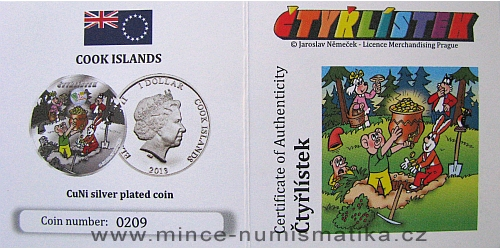 2013_1_dollar_Cook_Islands_Ctyrlistek_Sberatel_certifikat_a