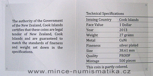 2013_1_dollar_Cook_Islands_Ctyrlistek_Sberatel_certifikat_r