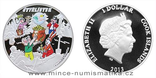 2013 - 1 $ Cook Islands - Čtyřlístek s logem veletrhu Sběratel
