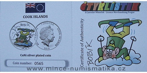 2013_1_dollar_Cook_Islands_ctyrlistek_proof_certifikat_Bobik