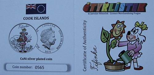 2013_1_dollar_Cook_Islands_ctyrlistek_proof_certifikat_Fifinka