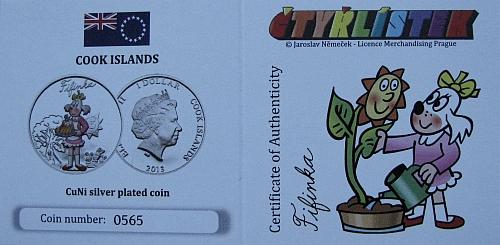 2013_1_dollar_Cook_Islands_ctyrlistek_proof_certifikat_Fifinka