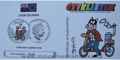 2013_1_dollar_Cook_Islands_ctyrlistek_proof_certifikat_Myspulin